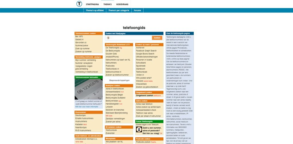 Screen | Zoek op nummer | Telefoongidsen Internationaal